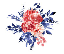 Watercolor Red And Blue Floral Clipart, Boho Blue Flowers Clipart, Hand Painted Blue And Red Rose Bouquet Png For Baby Shower, Birthday Cards, 4th Of July