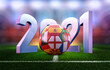 canvas print picture - European football championship EURO 2020 2021 event banner. European Soccer game 2021 tournament 3d illustration. Soccer stadium grass, football ball with european countries team flags, 2021 numbers
