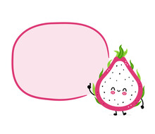 Cute Funny Dragon Fruit With Speech Bubble. Vector Hand Drawn Cartoon Kawaii Character Illustration Icon. Isolated On White Background. Dragon Fruit, Exotic Food Character Concept