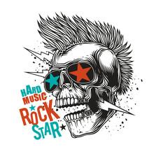 Original Vector Illustration In Vintage Style. Skull Rock Star Wearing Dark Glasses With Stars.