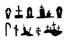 Halloween Vector Coffins Graves Silhouette In Doodle Style