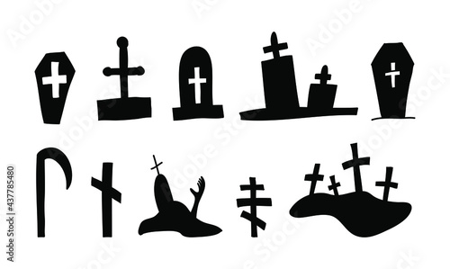 Fotografia halloween vector coffins graves silhouette in doodle style