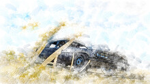 Drawing A Car In An Abstract, Pencil Style. Retro Car Sedan. A Car On A Country Road. Sky Clouds Drawn In Pencil. Yellow Rye In The Foreground.