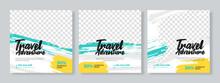 Set Of Three Travel Adventure Social Media Pack Template Premium Vector