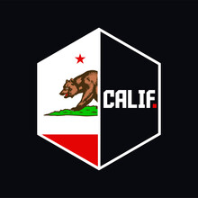 CALIF. A Creative California Symbol, With A Bear And Amazing Colors. Draw And Text, Sublimation Design And Vector T-shirt Fashion Design.