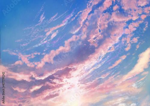夏の朝焼け空の風景イラスト Fototapeta
