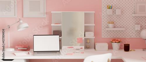 Fotografering Pink feminine dressing table interior design with laptop, supplies and decoratio