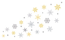 Snowflakes Six-pointed Of Brown And Gray Shades Of Different Shapes And Sizes On A White Isolated Background, Even And Symmetrical Lined With A Wave Bend, Background For Text, Wrapping Paper. Vector