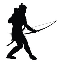 Archer Warrior With Sword Silhouette Vector On White Background