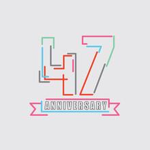 47th Years Anniversary Logo Birthday Celebration Abstract Design Vector Illustration.