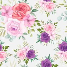 Beautiful Floral Seamless Pattern With Soft Flowers