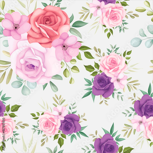 Tapety SHABBY-CHIC  piekny-kwiatowy-wzor-z-miekkimi-kwiatami