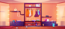 Modern Walk In Closet With Mess, Untidy Woman Clothes And Shoes On Wardrobe Shelves And Floor. Vector Cartoon Interior Of Empty Cloakroom For Apparel Storage And Dressing With Big Mirrors And Hangers