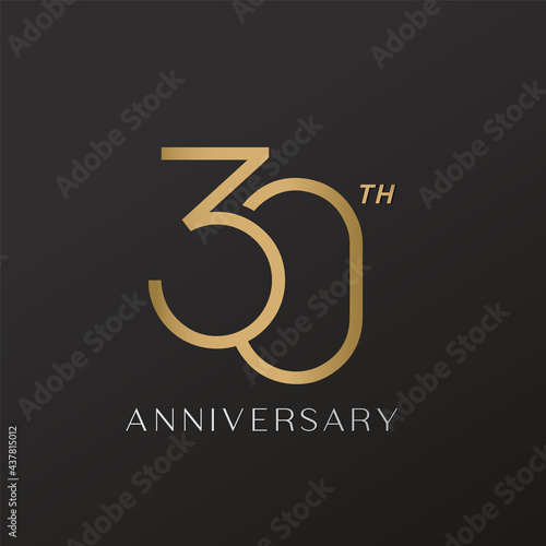 30th anniversary celebration logotype with elegant number shiny gold Fototapeta