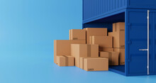 Brown Box Stacking And Container Box With Copy Space. Logistic And Shipping Business Service. 3d Illustration