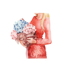 Watercolor Illustration. A Girl In A Pink Dress Dot Dress With A Large Bouquet Of Flowers On White Background. Romantic Theme. Spring, Summer. Greeting Card, Postcard, Poster