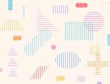 Various Shapes Such As Triangles And Squares Are Made Up Of Stripes. Simple Pattern Design Template.