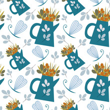 Vector Seamless Pattern With Leaves, Flowers, Garden And Dragonfly For Fabrics, Paper, Textile, Gift Wrap Isolated On White Background. Garden Plants In Pots, Watering Can For Gardener Farm