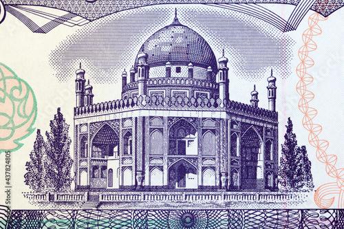 Obraz na plátně Mausoleum of Ahmed Shah Durrani from Afghani money