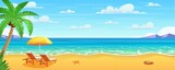Sea beach and sun loungers.
