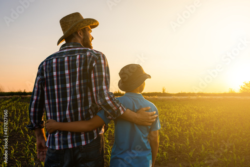 Billede på lærred Father and son are standing in their growing wheat field