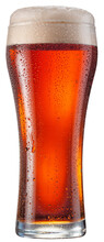 Glass Of Amber Ale Or Red Beer With Water Drops On Cold Glass Surface Isolated On White Background. File Contains Clipping Path.