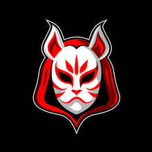 White Fox Head Mask Or Kitsune Vector Illustration Symbol, As Alternative This Also Can Be A Little Red Riding Hood In Anime Style. For Esport, Tshirt Print, Design Element, Or Any Other Purpose.
