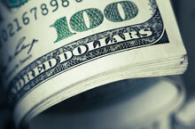 Close-up View Of Stack Of US Dollars