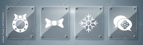 Fotografie, Obraz Set Snowflake with speech bubble, Snowflake, Bow tie and Christmas wreath