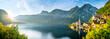 Leinwandbild Motiv Panorama Sonnenaufgang am See in Hallstatt Österreich Schiff an Anlegestelle Berg Kirche Alpen Dorf Landschaft Natur Hallstätter Sunrise Lake in Austria Ship Mountain Alps Church Landscape Nature