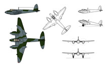 De Havilland Mosquito WWII Fighter Bomber Aircraft. Vector Illustration In Black And White Line Drawing. Color Side And Top Profile.