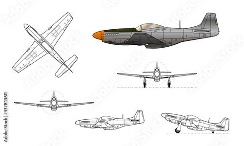 Fotografiet P-51D Mustang WWII fighter aircraft