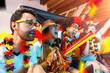 Leinwandbild Motiv Gruppe glücklicher Fußballfans aus Deutschland feiern gemeinsam einen Meisterschaft Sieg.