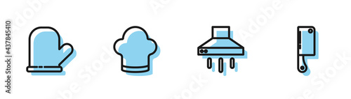 Fotografiet Set line Kitchen extractor fan, Oven glove, Chef hat and Meat chopper icon