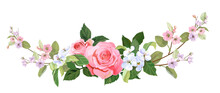 Panoramic View: Bouquet Of Roses, Spring Blossom. Horizontal Border: Pink, Mauve, White Flowers, Buds, Green Leaves On Light Background. Digital Draw Illustration In Watercolor Style, Vintage, Vector