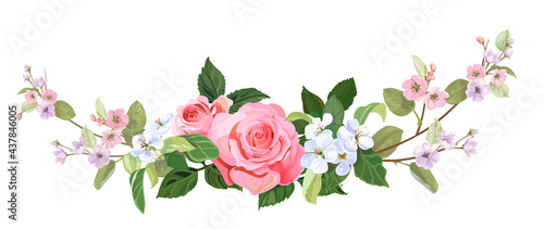 Fotografie, Obraz Panoramic view: bouquet of roses, spring blossom