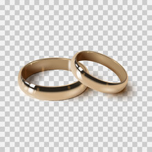 Golden Wedding Rings Isolated, Vector 3d Realistic Style