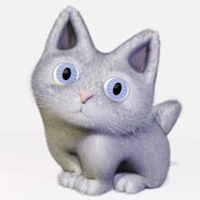 Cute, Fluffy, White Kitten With Blue Eyes Isolated Over White Background. 3D Illustration.