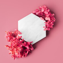 Marble  Hexagon On Pink Background With Flowers. Stylish Background For Presentation.
