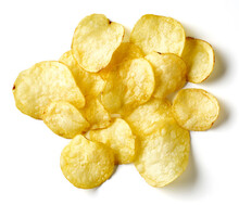 Potato Chips Isolated On White, From Above