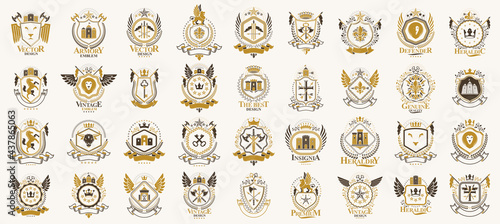 Foto Vintage heraldic emblems vector big set, antique heraldry symbolic badges and awards collection, classic style design elements, family emblems
