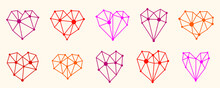 Low Poly Geometric Hearts Vector Icons Or Logos Set, Graphic Design 3d Love Theme Elements, Polygonal Dimensional Hearts.