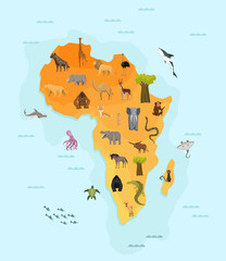 Map of africa with different animal. Funny cartoon banner for children with the continent, ocean and lot of funny animals. Materials for kids preschool education