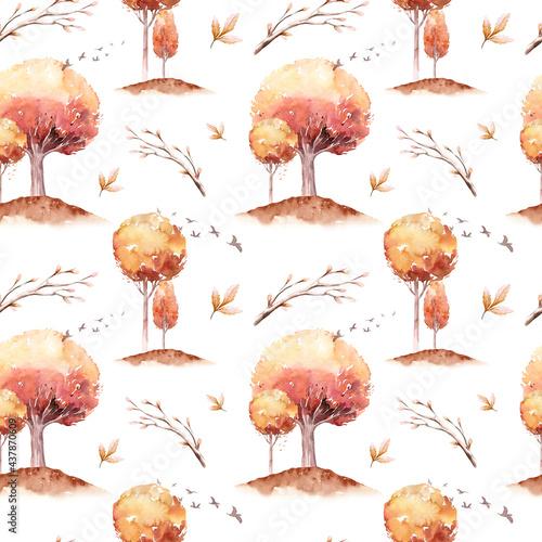 Tapety Skandynawskie  wzor-akwareli-jesiennych-lisci-dab-klon-brzoza-jarzebina-jesion-zloty-jesien-krajobraz-drzew-zolte-tlo-lisci