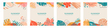 Set Of Summer Social Media Post Template With Space For Text.Promotional Content.Colorful Abstract Vector Design Background For Poster, Invitation And Cover With Tropical Leaves, Shapes And Textures