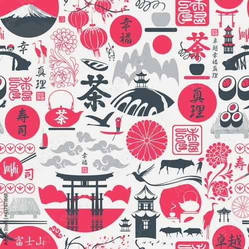 Tapety Japońskie  wzor-na-temat-japonii-z-japonskimi-hieroglifami-sushi-herbata-doskonalosc-szczescie-prawda-fujiyama-japan-post-powtarzajace-sie-tlo-wektor-tapeta-papier-pakowy-tkanina