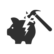 Piggy Bank And Hammer Icon. Vector Illustration.