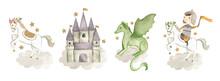 Fairy Tale  Knight Watercolor Illustration  White