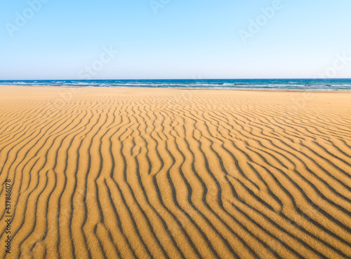 Sand dunes and seashore during sunset. Summer landscape in the desert. Hot weather. Lines in the sand. Landscape without people. #437886078
