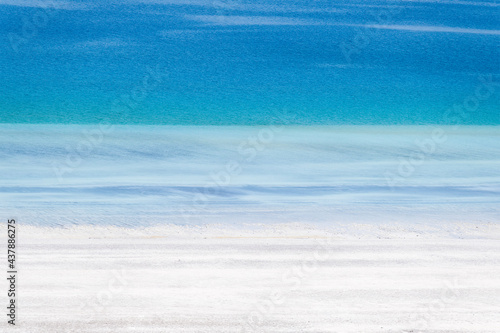 Lake Salda, Turkey. A popular place for recreation and tourism. White sand and blue water. Natural background. #437886275